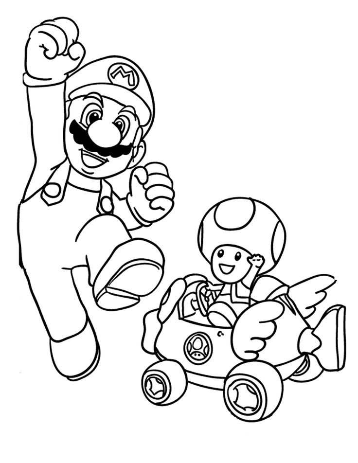 Mario Coloring Pages And Toad Page Cartoon Jr
