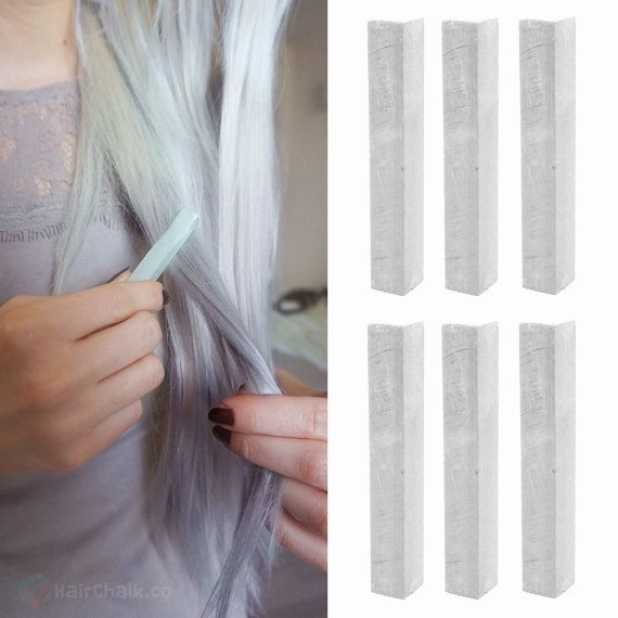 Grab everything you need for an amazing PLATINUM SILVER tinted pastel hair dye in a single package - individually shrink-wrapped hair chalks to