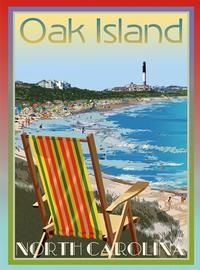 "Oak Island, NC vintage art deco style poster by Aurelio Grisanty. Posters are 18"" x 24"" $34.95"