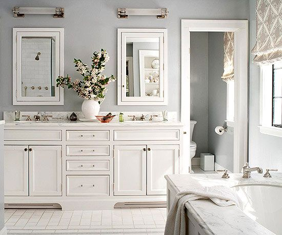 Make your home bathroom feel just like the spa by choosing soothing bathroom color schemes. You'll enjoy a calming and serene bubble bath while you're surrounded by soft whites, blues, greys and greens.