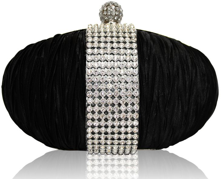 Black Ruched Satin Evening Clutch Bag With Crystal Diamante Trim
