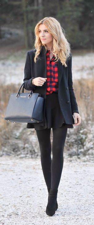 #winter #fashion / red plaid shirt