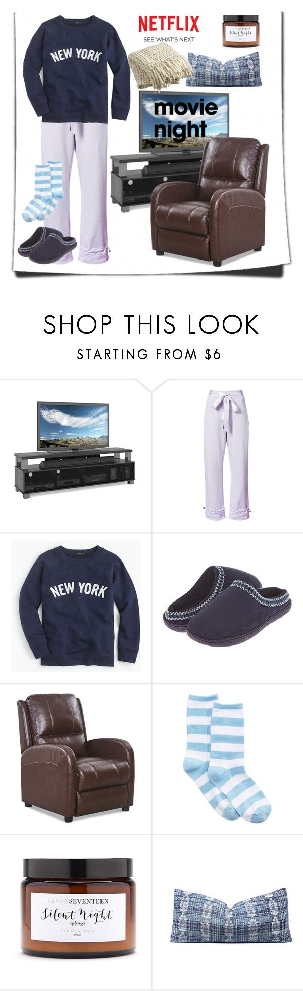 """movie night"" by maryfromnewengland ❤ liked on Polyvore featuring Sonax, Puma, J.Crew, Floopi, Identity, HOT SOX, Silent Night and CB2"