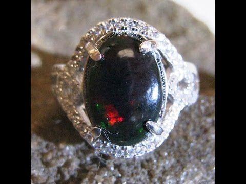 Cincin Wanita Black Opal 2.25 carat (asli) Silver 925 Ring 7US