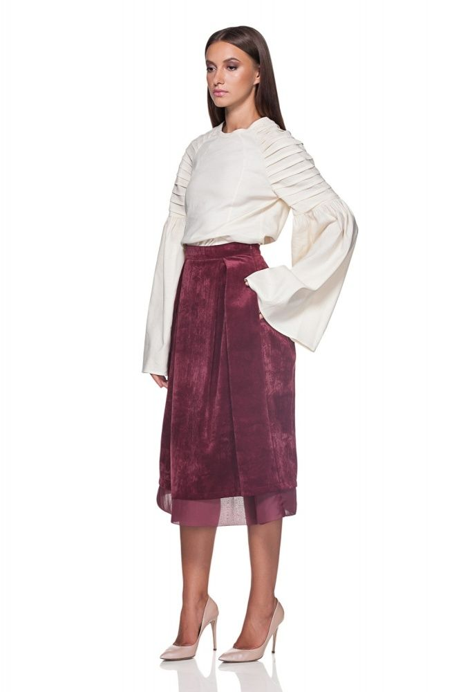 MAIASTRA Shirt with pleated Sleeves – Maria Alina Margulescu – MAIASTRA Velvet Skirt