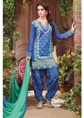 bleu coton couleur patiala salwar kameez, - 81,00 €, #Salwarkameezfemme #Robeindienne #Salwarkameezmariage #Shopkund