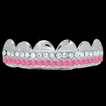 PINK / CLEAR Double Bar SILVER Iced Out Grillz Hip Hop Bling Grills TOP