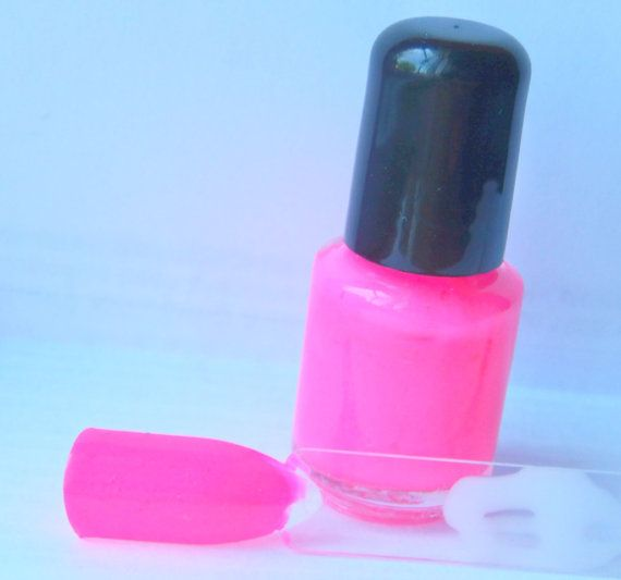 Neon Pink Nail Polish   LArge bottle   Handmade  by IndiePolish, $8.75
