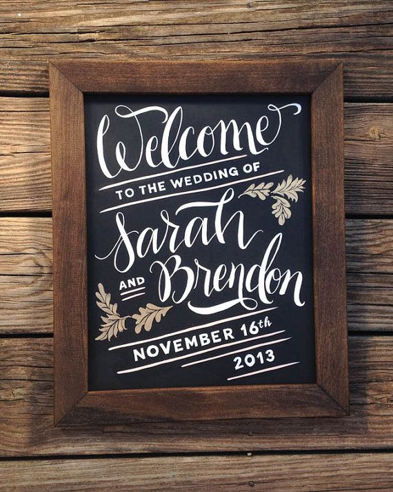 Welcome Sign for Wedding Hand Painted Chalkboard by papertangent, $57.00