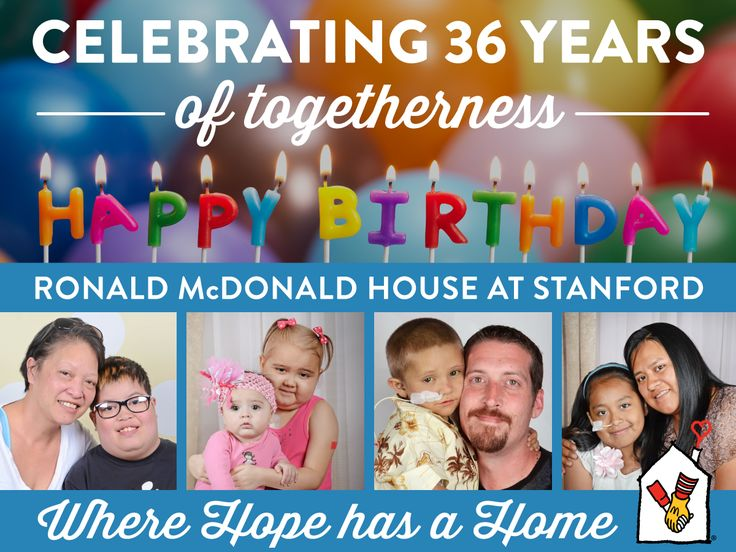 Today's our birthday! We're celebrating 36 years of providing a home-away-from-home and safe, supportive community of hope for families with critically ill children.