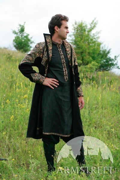 Surcot exclusif fantastique de laine et de brocart « Prince elfique » d'ArmStreet