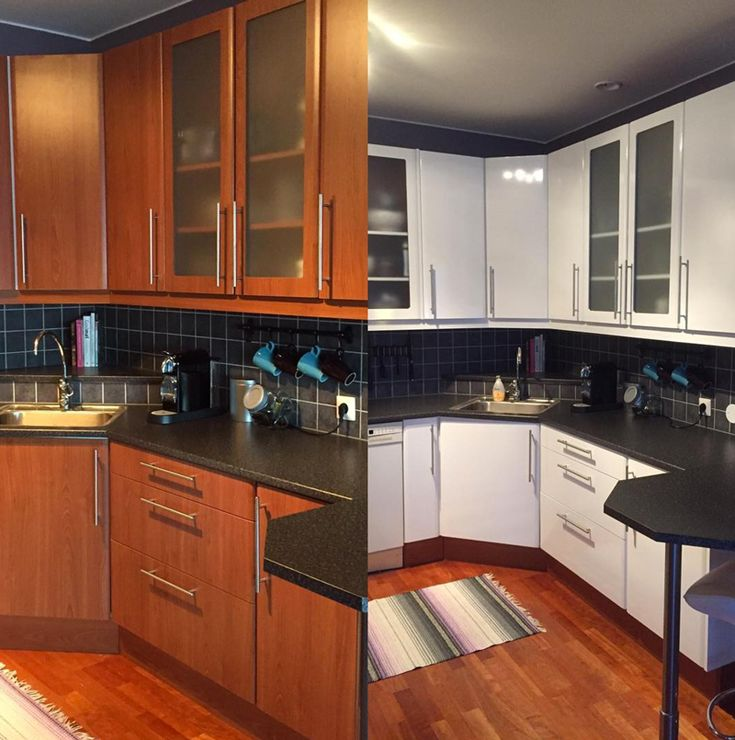 FØR OG ETTER - Nytt kjøkken med selvklebende folie i hvit - Lindas Dekor   #oppussing #interiør #kjøkken #inspirasjon
