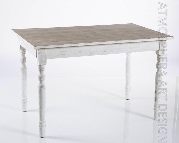 Tavolo pranzo in legno 120X75X76 stile shabby chic provenzale