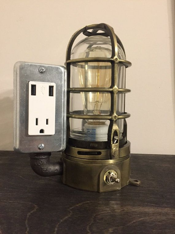 Buy now! USB Lamp with protective cage and Edison bulb. Toggle switch on front of lamp controls the light.   www.etsy.com/shop/bosslamps