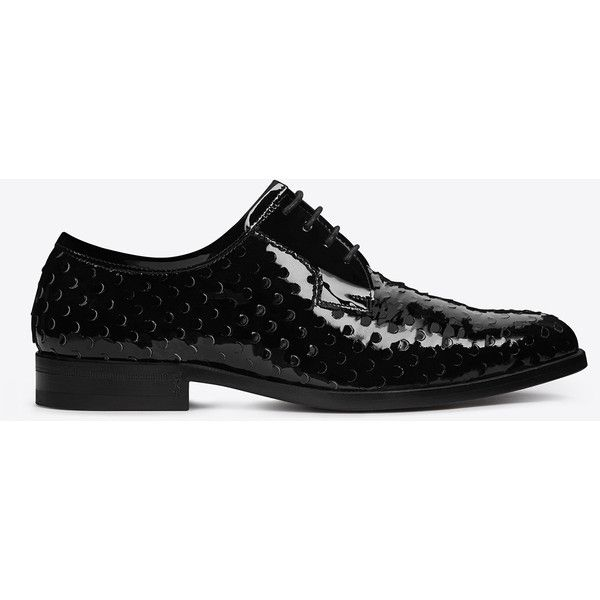 Saint Laurent MONTAIGNE 25 Derby Shoe in Black perforated patent... (€835) ❤ liked on Polyvore featuring shoes, yves saint laurent shoes, yves saint laurent, patent leather shoes, black patent shoes and black patent leather shoes