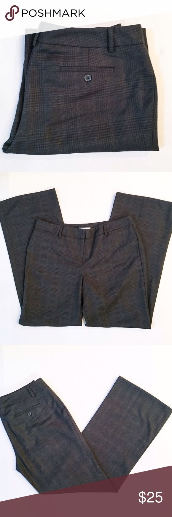 """New York & Company Dark Gray/Black Dress Pants Sleek and stylish dress pants from New York & Company! Straight leg and flattering fit that is perfect for work or a night out on the town! Dark gray and black Plaid print with a poly/rayon blend, and no front pockets. Size 10 petite and the waist measures approx 17"""" across, rise is about 9.5"""", and inseam is approx 29.75"""". These pants are preloved EUC with no apparent flaws, and lots of life left! New York & Company Pants Straight Leg"""