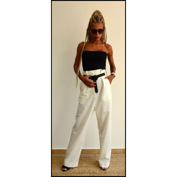 On High Waist Pants Wide Leg Trousers White Low Crotch... (€84) ❤ liked on Polyvore featuring pants, black, women's clothing, wide leg pants, white wide leg trousers, white high waisted trousers, high waisted trousers and drop crotch pants
