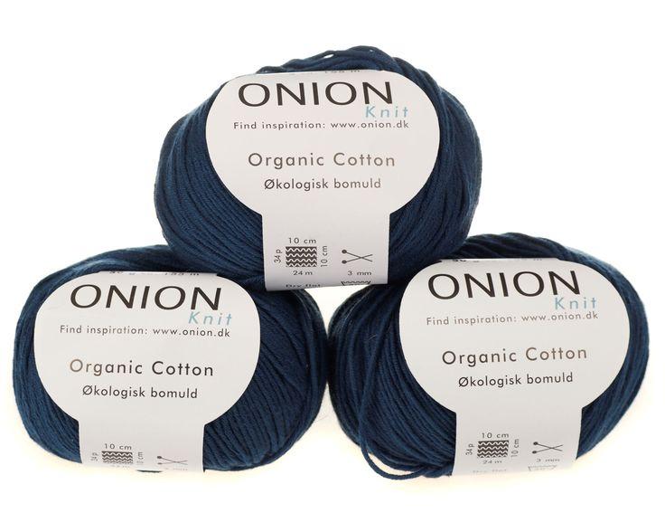 Marine blå økologisk bomuldsgarn fra Onion - 35 kr. per 50 gram