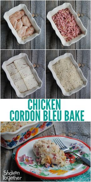 Another week night meal win! This EASY Chicken Cordon Bleu Bake only has 4 ingredients - just layer them in a baking dish and dinner is served in 30 minutes!