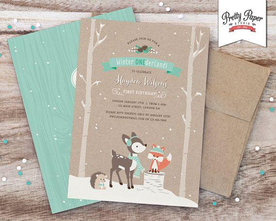 Winter ONEderland Birthday Party Invitation // Woodland Fox Invite // Boy or Girl // Mint // Printable Digital BP04