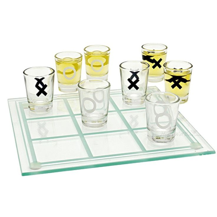 Tic-tac-toe, three in a row! - 2 Player Drinking Game,- Set contains 8� x 8� etched glass playing board with rubber corner-pads and nine, 2�, 1oz. shot glasses.- Glass Board size:23 x 23cm
