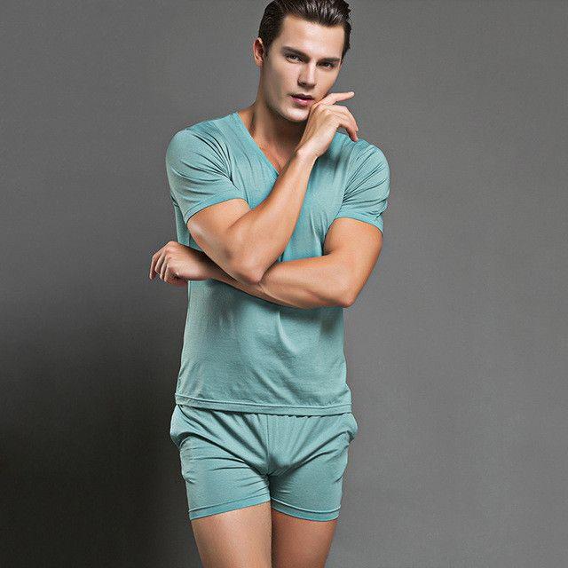 Hot Men Pajamas Set Casual Sexy Sleepwear Mens Underwear Tees Undershirts Casual Short Sleeves Nightwear