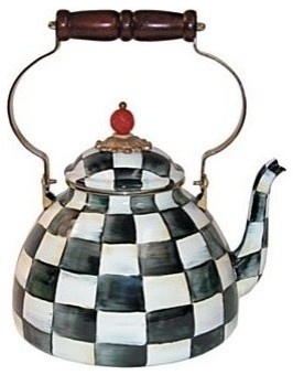 The touch of whimsy and a black and white checkerboard pattern on this unique, handmade teapot.