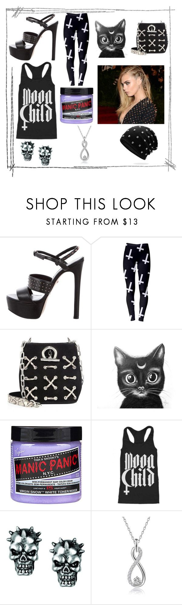 """Punk"" by anjalenaross ❤ liked on Polyvore featuring Ruthie Davis, GALA, Alexander Wang, Manic Panic NYC and Blackcraft"