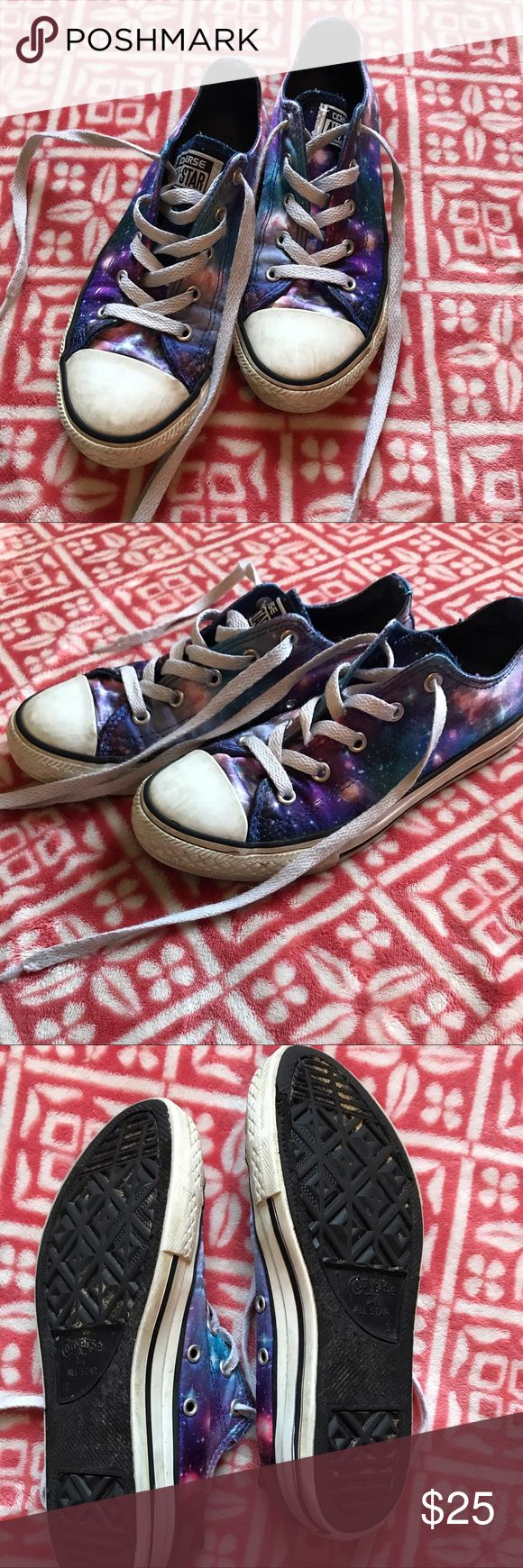 Galaxy Converse size 3 These are too cute with a satin finish galaxy print, in used condition, size 3 kids. Converse Shoes Sneakers
