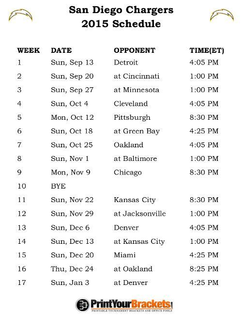 Printable San Diego Chargers Schedule - 2015 Football Season