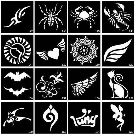 100pcs Small Glitter Tattoo Stencil Drawing Painting, Airbrush Tattoo Stencils For Woman Kids Temporary Henna Tattoo Stickers #KidsTattooRemoval