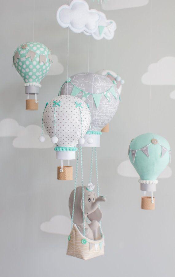Beb elefante y globo de aire caliente m vil en aqua gris y blanco un adorable elefante - Mobile bebe gris ...