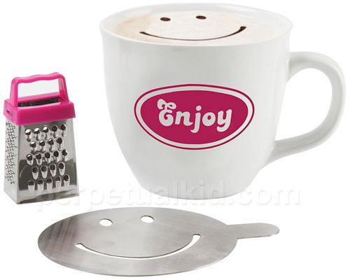Pick up our Enjoy Cappuccino Mug Gift Set to help better enjoy your day. The set comes with a porcelain mug, steel grater and a steel choco-stencil! $15.99: Enjoying Cappacino, Giftt Ideas, Gifts Ideas, Celebrity Cappuccinos, Better Enjoying, Enjoying Cappuccinos, Gifts Sets, Smiley Faces, Mugs