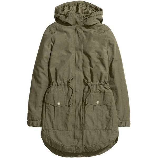 H&M Parka ($45) ❤ liked on Polyvore featuring outerwear, coats, jackets, parka, khaki green, h&m coats, green coat, parka coat, khaki coat and brown coat