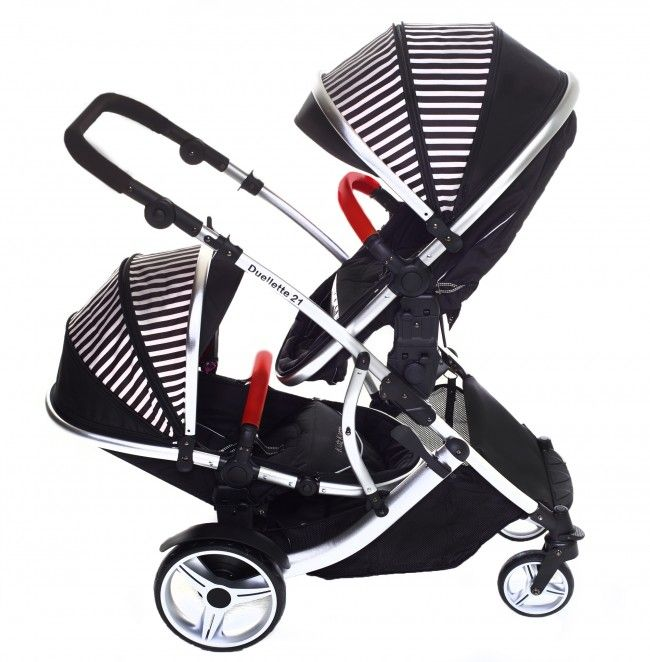 Kids Kargo Duellette 21 BS tandem double twin pushchair travel system pram Oxford Stripe 0640841666371