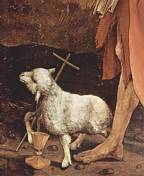 """1512-1516.Alsace,Haut-Rhin,Colmar, Musée d'Unter Linden:Mathias Grünewald,""""retable d'Issenheim:la Crucifixion"""". detail: Hl.Johannes der Täufer."""