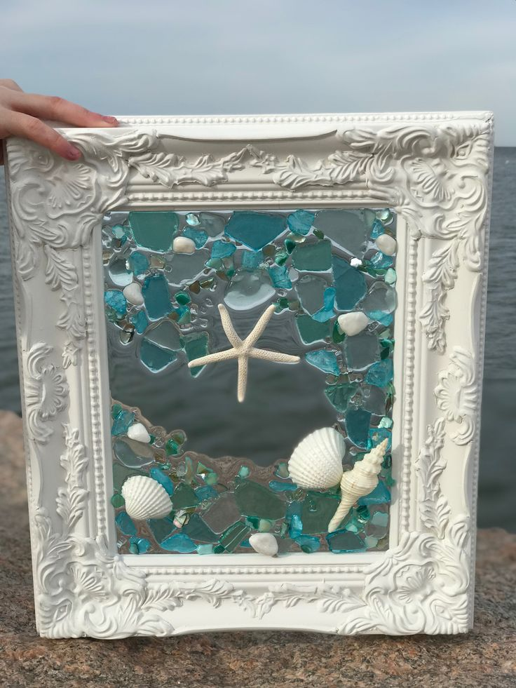 Shabby Chic Frame with Shells and Beach
