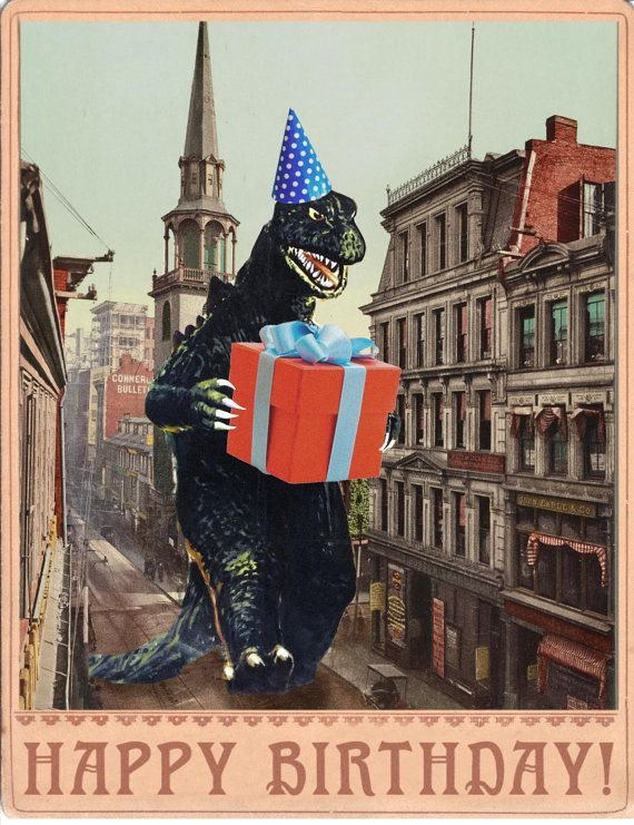 A giant monster! But hes not crushing the city, hes bringing a birthday present! Share the fun with this whimsical card! This card measures