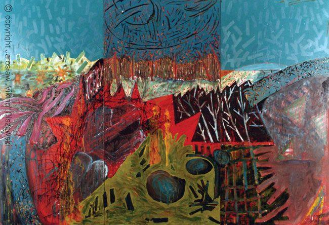 Garden. Mixed plate of size - 200cm x 360cm, year of establishment - 1990 Ogród. Technika mieszana, płyta, wymiar - 200cm x 360cm, rok powstania - 1990