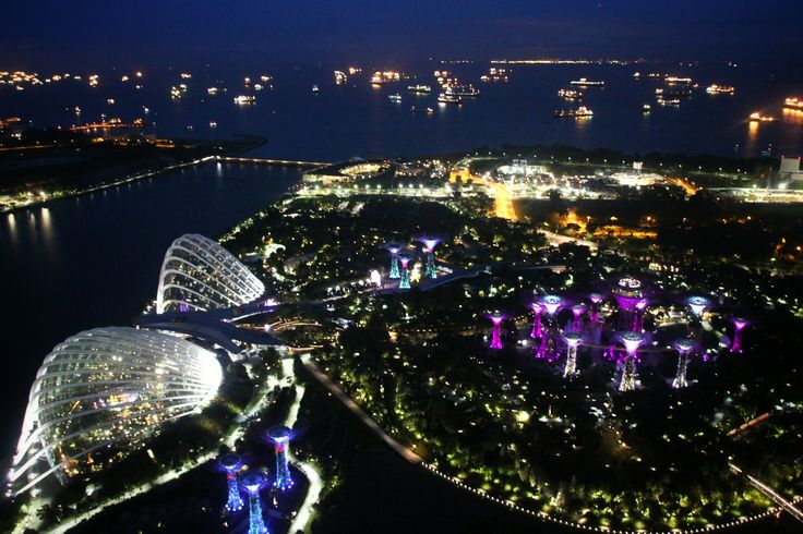 Gardens By the Bay's view from the top of level 56 Merina Bay Sands in Singapore