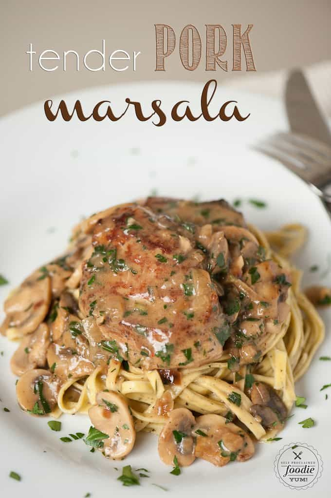 Tender Pork Marsala, made with garlic and herb marinated pork tenderloin and smothered in a creamy mushroom wine sauce, is the perfect dinner. Similar to chicken marsala, this recipe is ready in just 30 minutes. Pork marsala with mushrooms and shallots can be served over mashed potatoes or pasta.