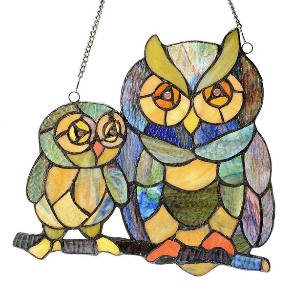 River of Goods 11-inch Tiffany Style Stained Glass Friendly Owls Window Panel
