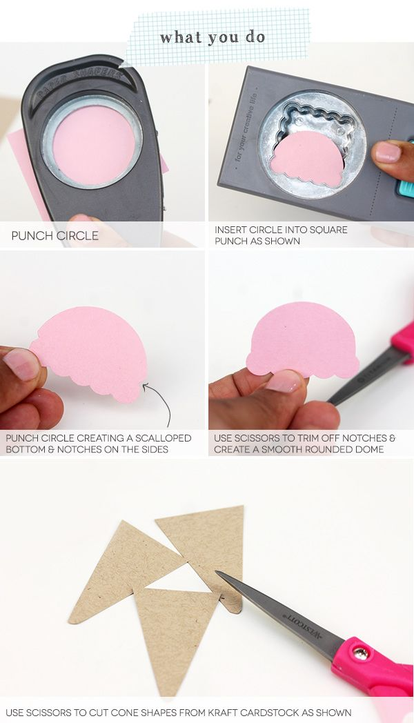 Paper Punch Ice Cream Cones