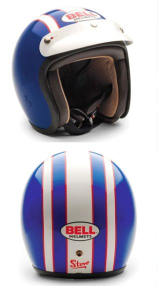 Bell is currently selling a replica of the helmet worn by the US Team in the 1964 International Six Day Trial. It's the McQueen Bell Jet RT helmet, and each is individually hand painted. As everyone probably already knows, Steve McQueen was on the team riding a Triumph 650. The price is 600 dollars.