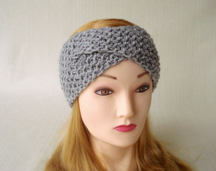 Grey knit headband for women Winter headband Ear warmer headband Knit turban headband Women head bands Cute Knitted head band Christmas gift by LJaccessories on Etsy