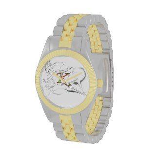 kush urban wear & apperrell two tone  gold&silver mens watch trademark logo desighn v.1