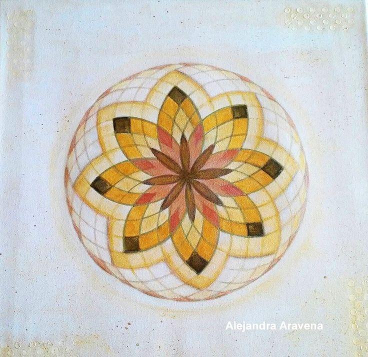 Mandala monocromía dorado. Acrílicos sobre bastidor de 40 x 40 cm. Autor: Alejandra Aravena