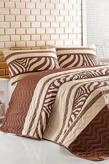 Barna kétszemélyes steppelt ágytakaró szett