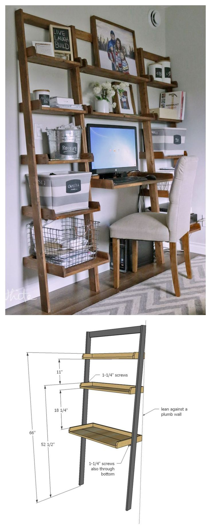 DIY desk made with all 1x boards!  small space office! Ana White | Build a Leaning Wall Ladder Desk | Free and Easy DIY Project and Furniture Plans