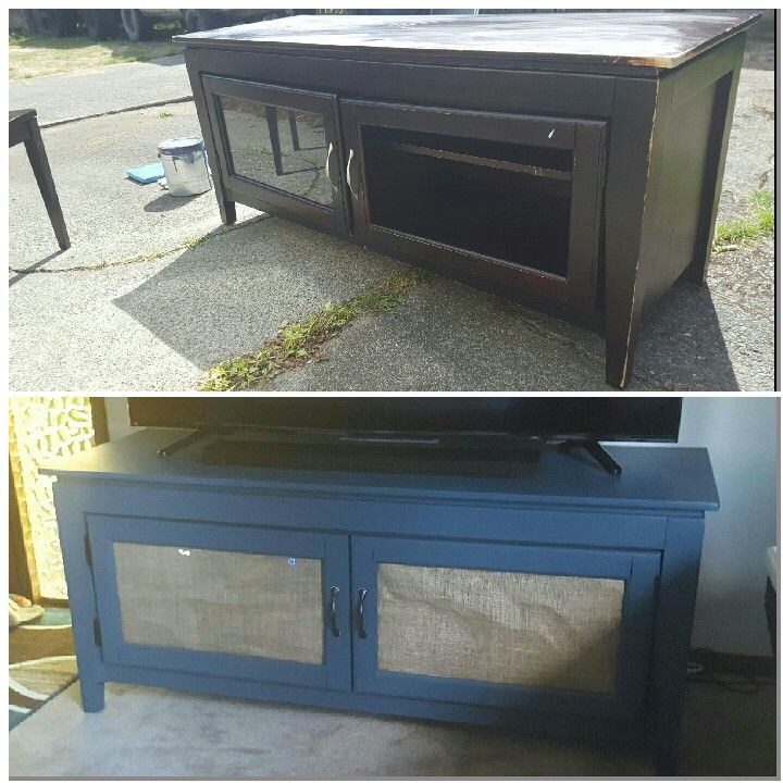Diy tv stand face lift. Just painted the stand, then used burlap for the doors since the glass was missing. Turned out cute, and perfect for rustic or shabby chic styles. I love this grey blue color also!